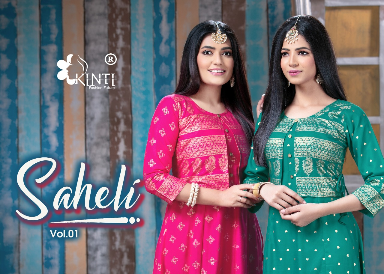 Kinti Saheli Designer Rayon 14 kg Anarkali Kurti Catalog at Wholesale rate