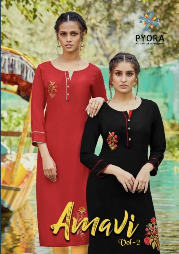 Piyora Amavi Vol 2 Designer Pure Rayon Slub Embroidered Kurti Wholesaler in surat