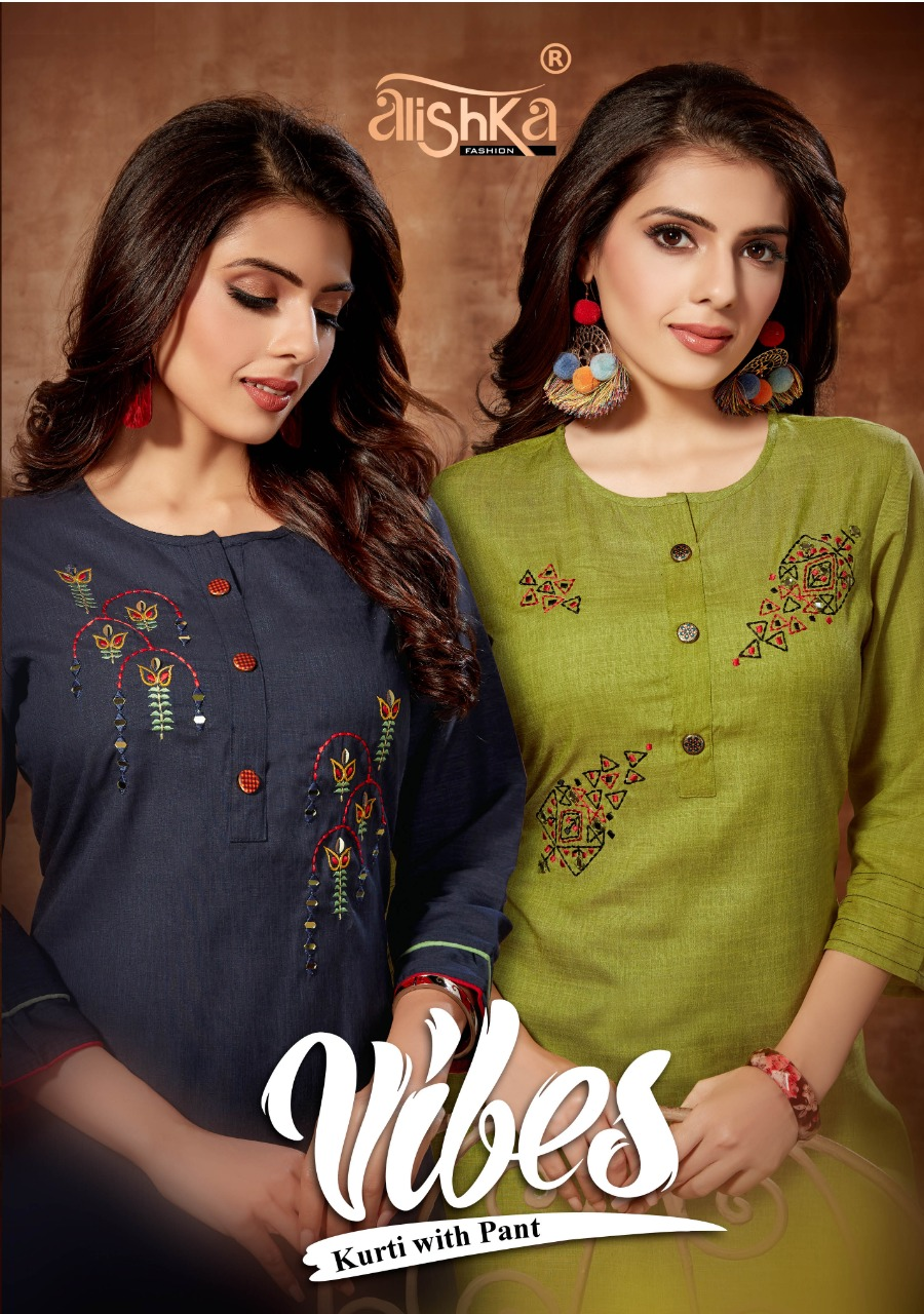 Alishka Fashion Vibes Designer Liquid Rayon Slub Embroidered Kurti Catalog at Wholesale rate