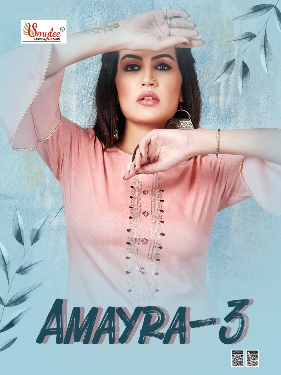 Smylee Amayra Vol 3  Designer Heavy Slub Rayon Pitten Work Kurti Catalog at Wholesale rate