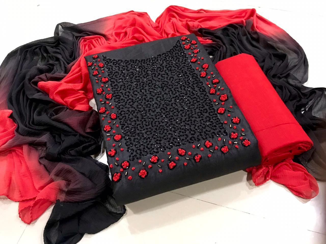 RN Beautiful Semi Modal Handwork Dress Material Catalog at Wholesale rate