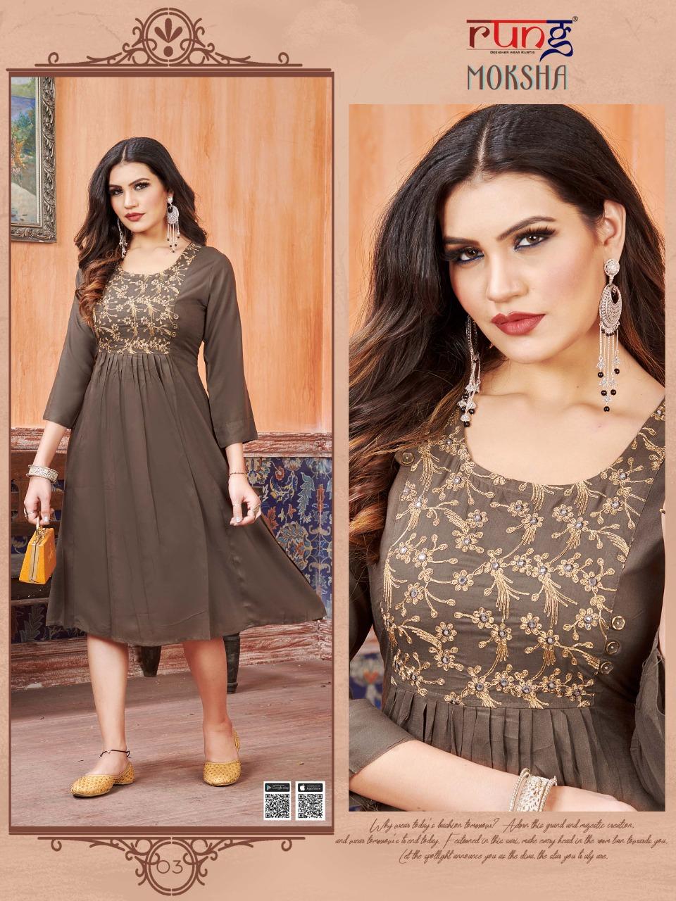 Rung Moksha Heavy Embroidery Rayon Festive Wear kurtis At Wholesale Rate