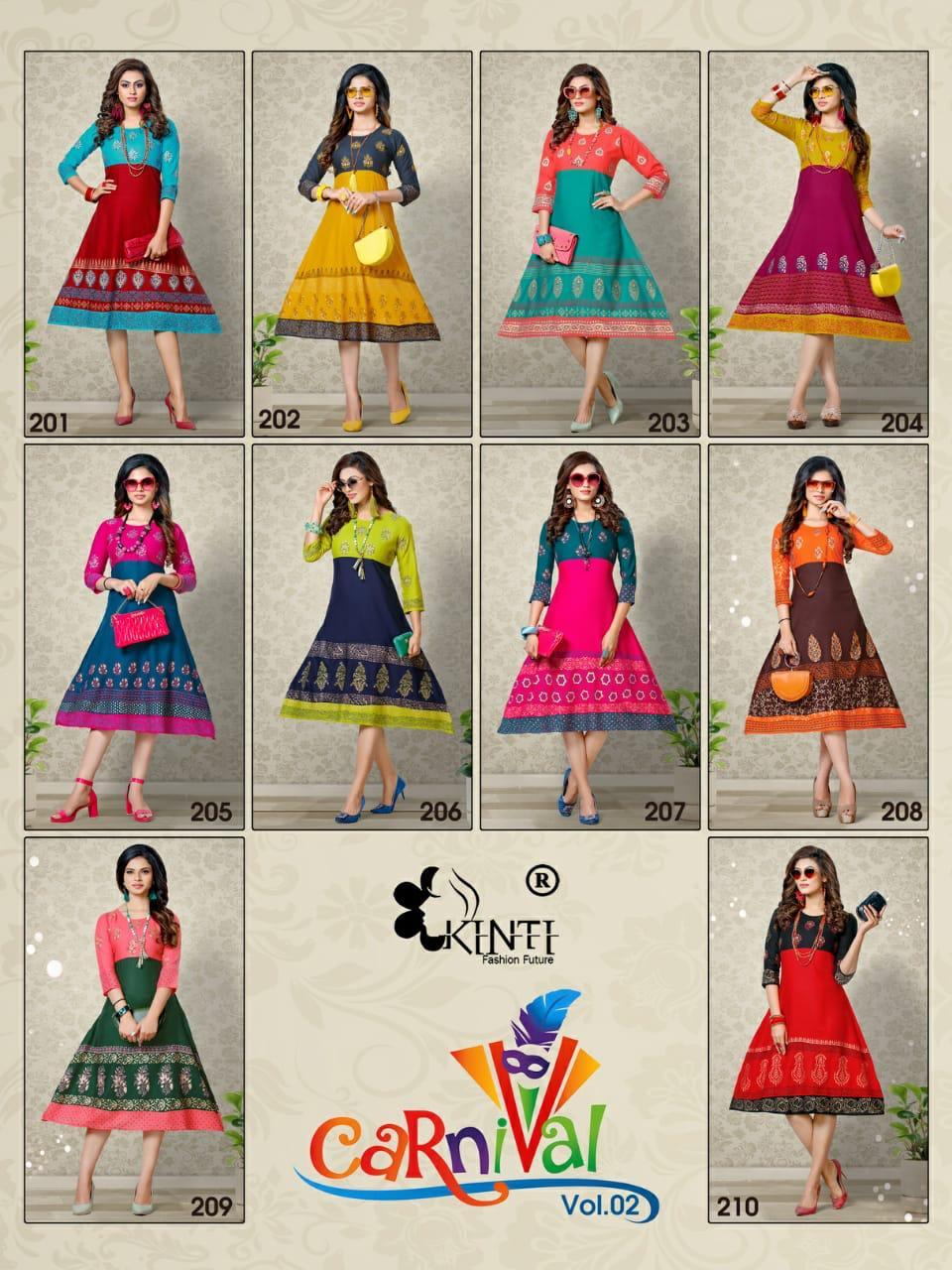 kinti carnival Rayan Printed Casual Wear Kurti Catalog At Wholesale Rate