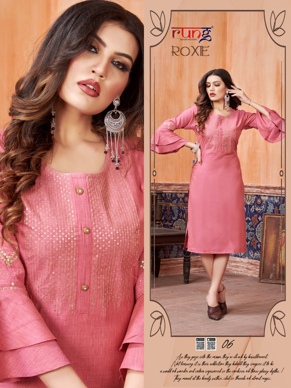 Rung Roxe Heavy Luxuriya Rayon With Embroidery Work  kurti At Wholesales Rate