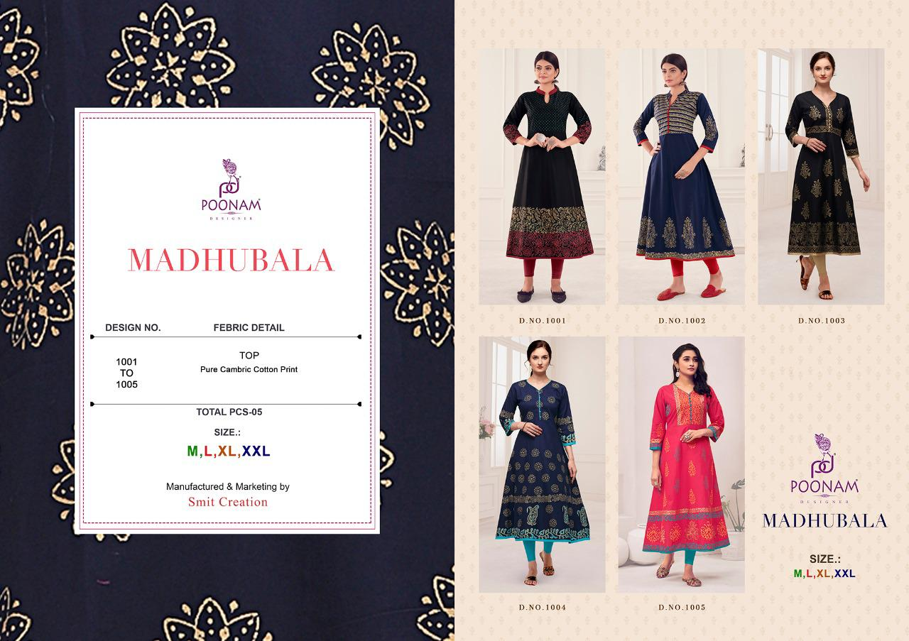 Poonam Madhubala Party Wear Pure Cambric Cottan Print Long kurti At Wholesale Rate
