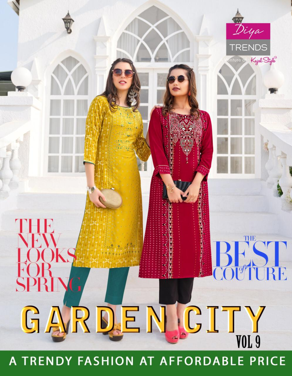 Diya Trands Gardencity Vol 9 Rayon Print With Heavy Embroidery Paarty Wear Kurti Catalog At Wholesale Rate