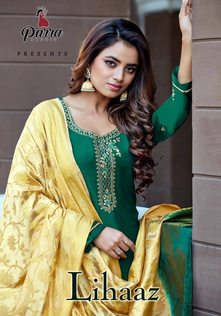 Parra Studio Lihaaz vol 1 Heavy Embroidered Cinon Silk Readymade Suit with Banarasi Dupatta Catalog at Wholesale Rate