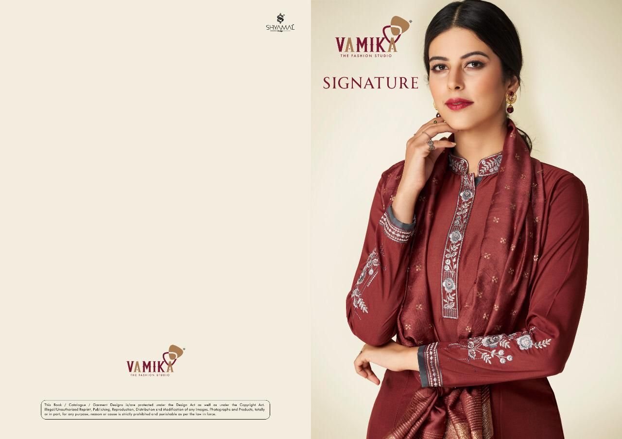 Vamika Signature Festive Wear Pure Maslin Silk Top With Heavy Embroidery Plazzo Catalog at Wholesale Rate