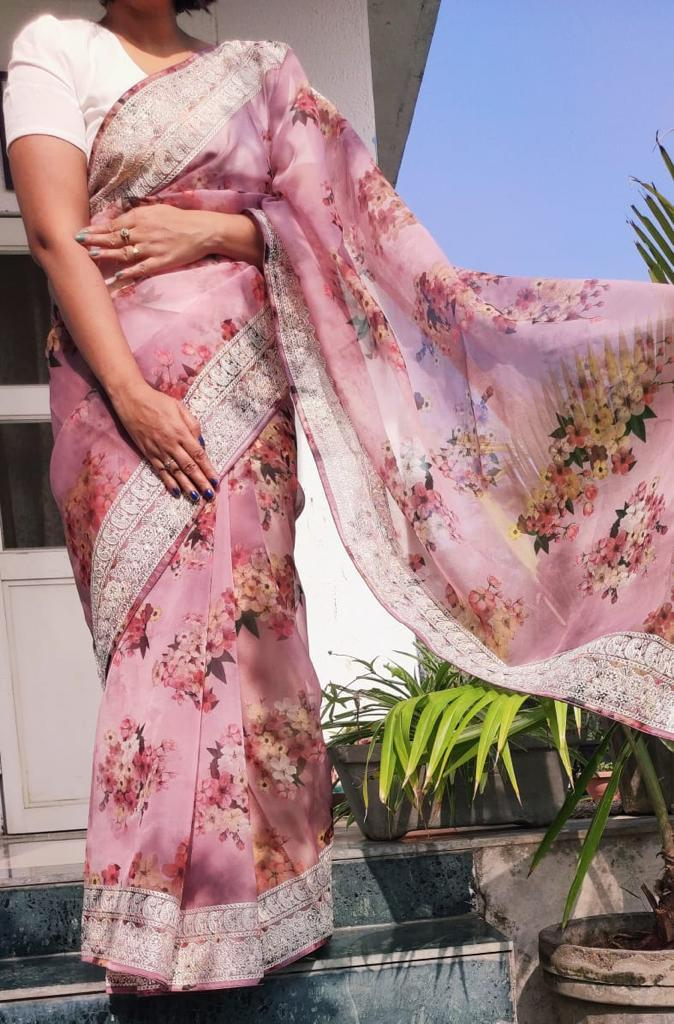 Thankar DF vol 1 Wedding Wear  digital floral print saree Heavy cotton thread embroidery work At Wholesales Rate