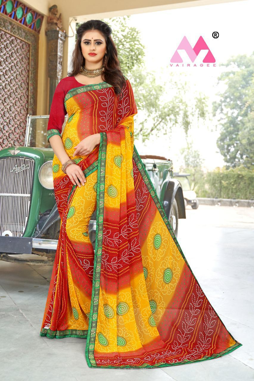 Thankar Santi  Sarees Casual Wear Heavy Printed Bandhani Sarees With Lace Border Catalog Saree At Wholesale Rate