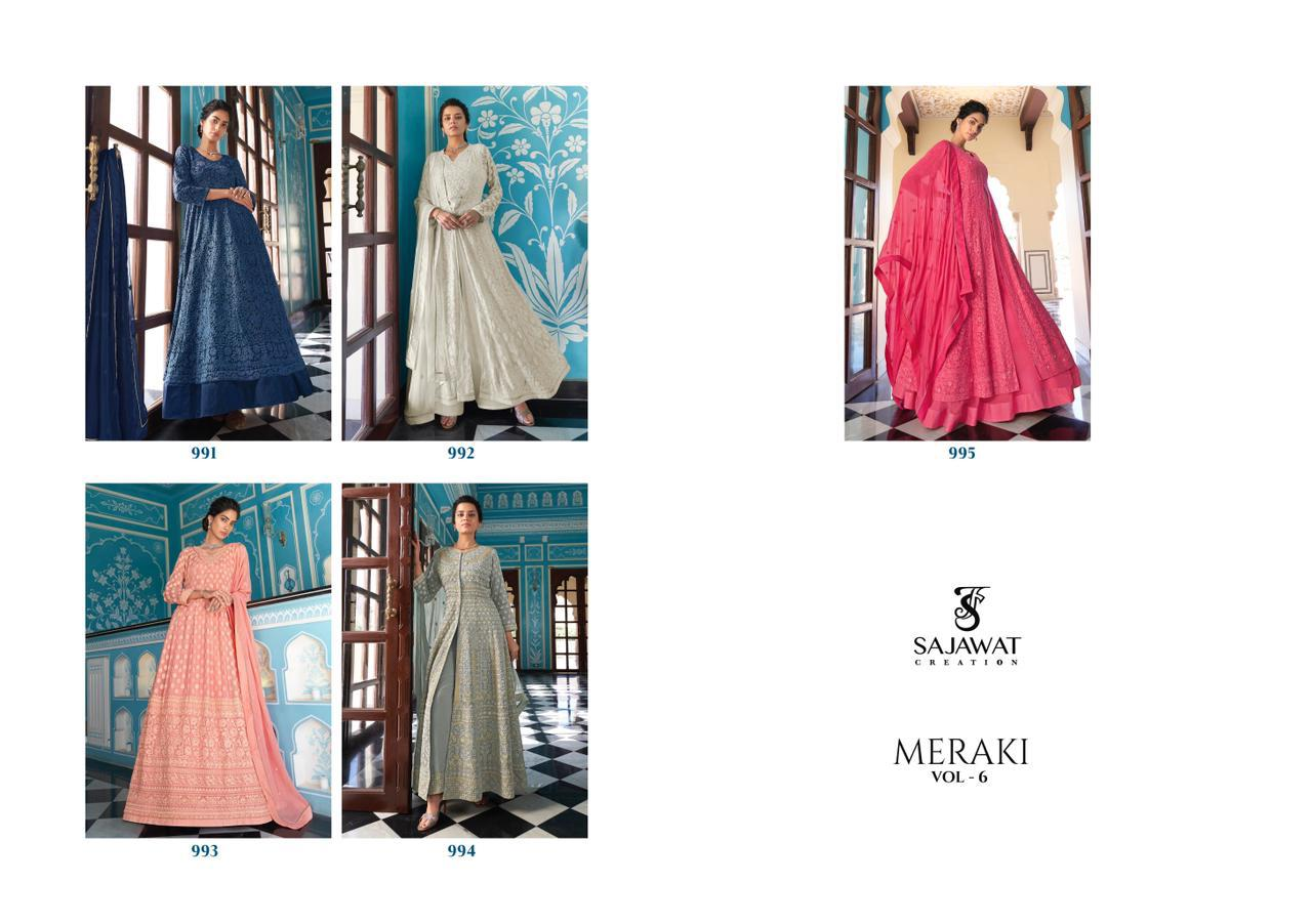 Sajawat Creation Meraki vol - 6  Wedding  Wear  Heavy Fox Georgette With Beautiful Work Readymade Anarkali Suit Catalog At Wholesale Rate