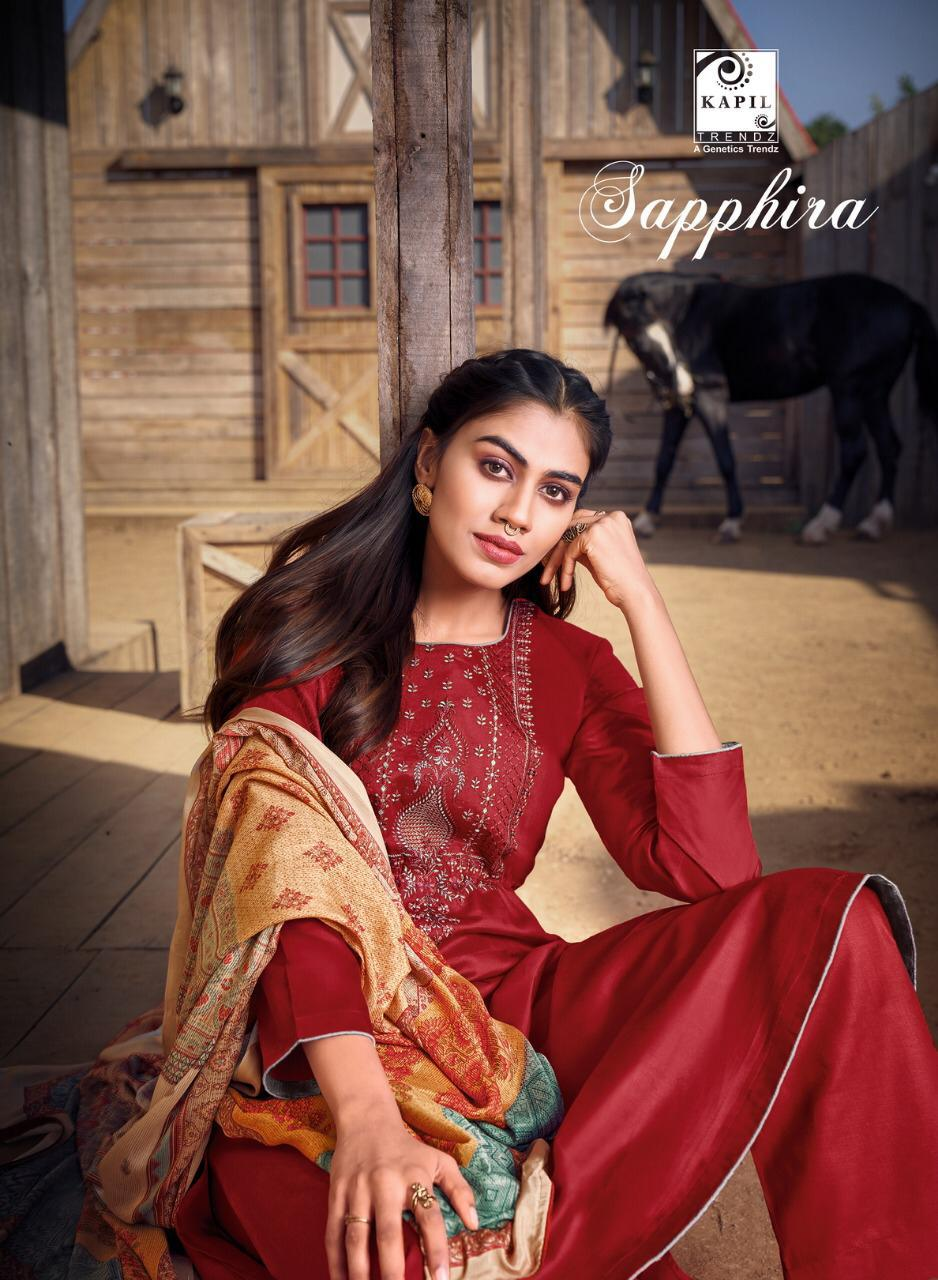 Kapil trendz Sapphira Fastive Wear Cotton Muslin Digital Printed With Tussle Catalog Suit At Wholesale Rate