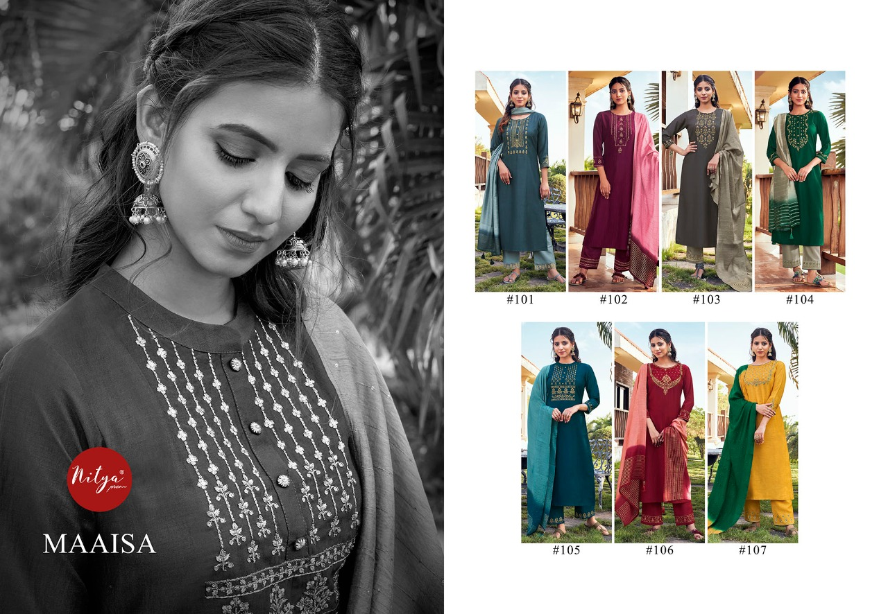 Maaisa Nitya Party Wear Chinon Silk With Heavy Embroidery And Handwork Catalog At Wholesale Rate