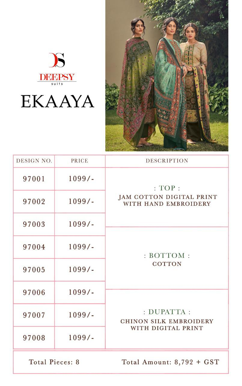 Ekaaya Deepsy suits Casual Wear Cotton Print With Hand Embroidery Catalog Suits At Wholesale Rate.