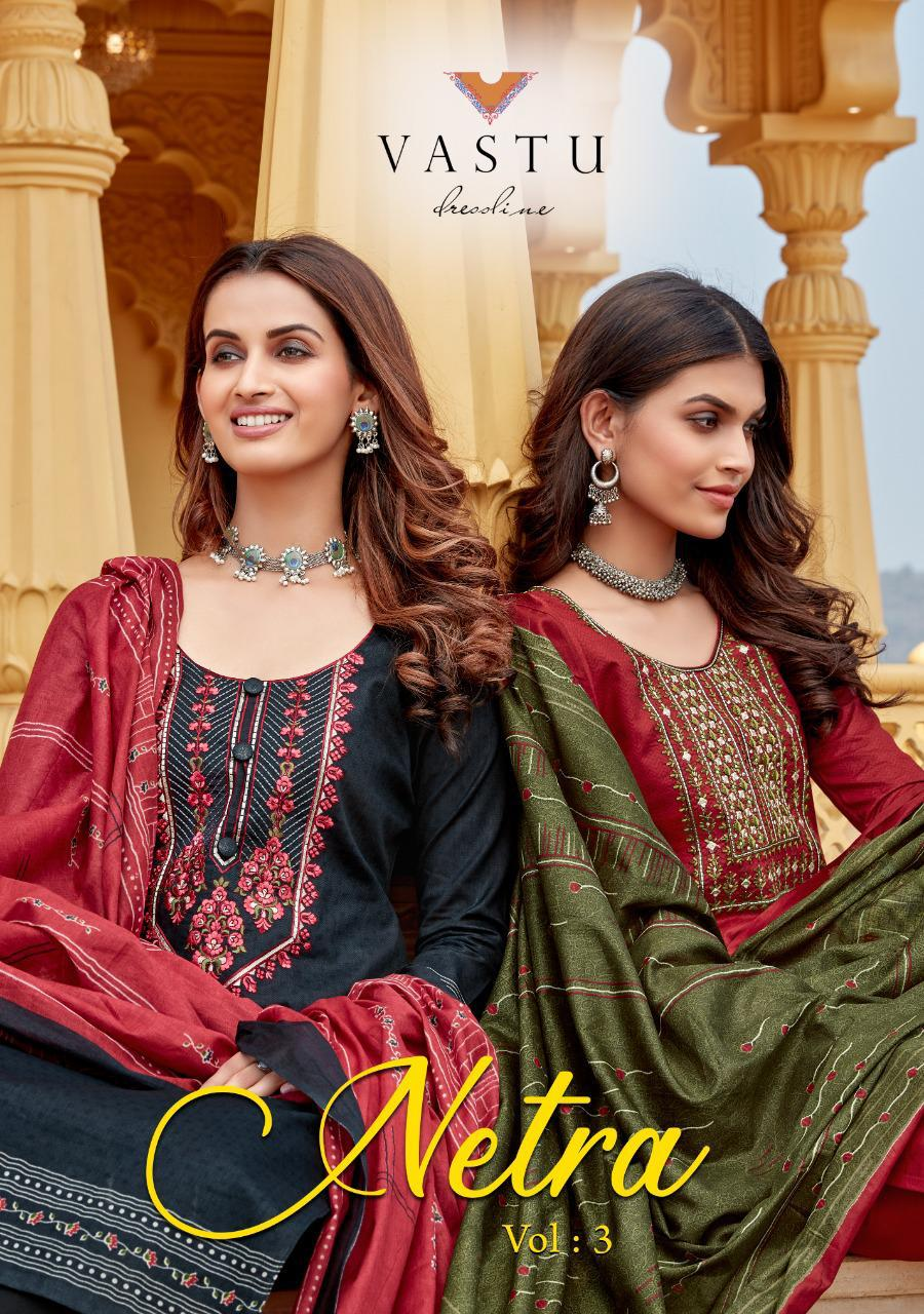 Vastu Tex Netra Vol 3 Festive Wear Pure Cotton With Print And Heavy Work Catalog At Wholesale Rate