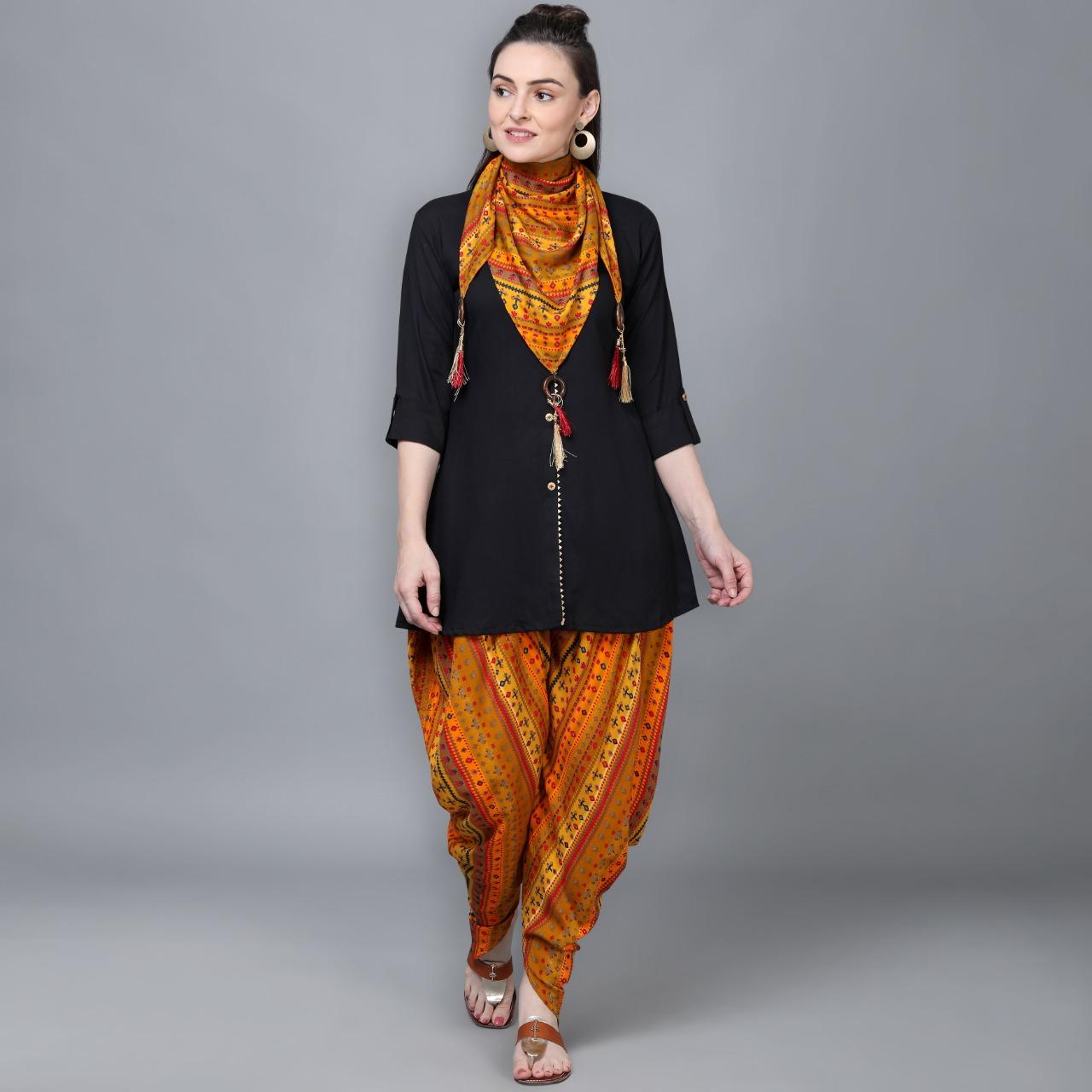 Thankar presents 4001 to 4004 designer rayon Kurti and dhoti with a beautiful scarf