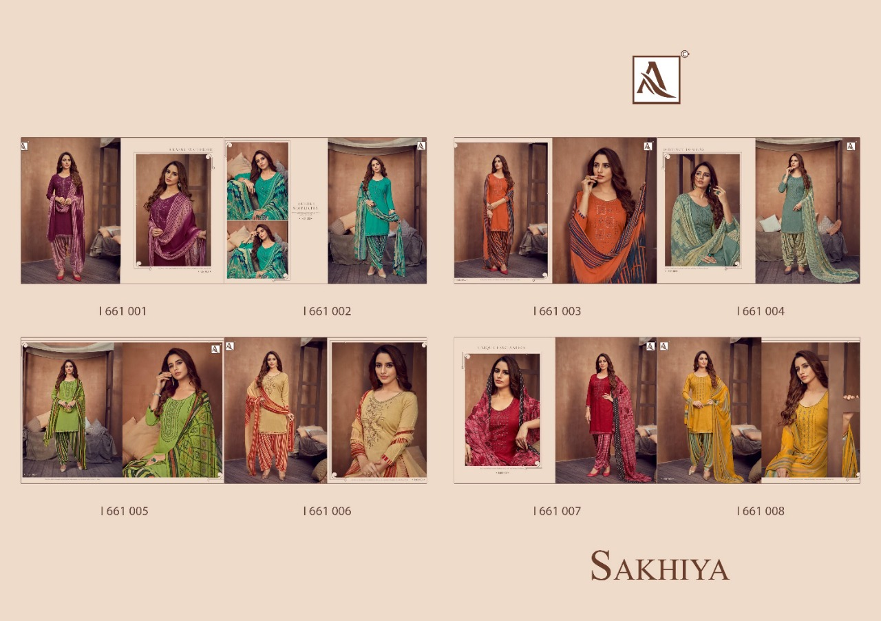 Alok Suit Sakhiya Pure Viscose Reyon Fabric with Neck Embroidery Dress Material At Wholesale Rate