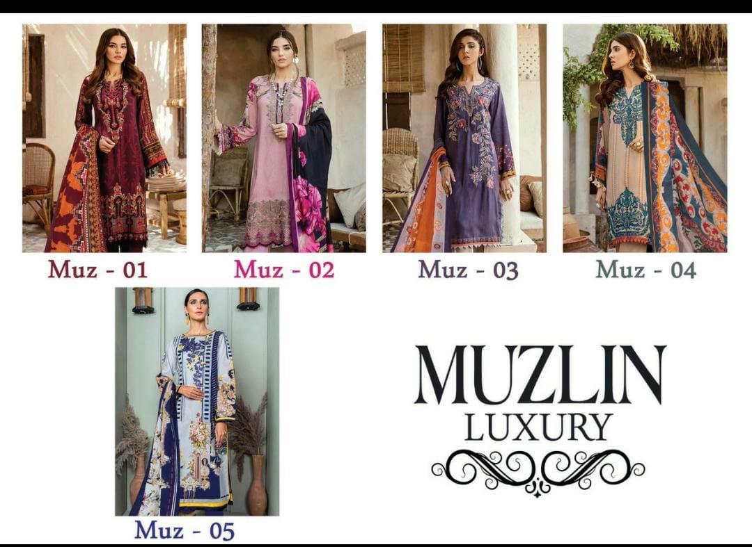 Muzlin Luxury Vol 5 Printed Karachi Pure Cotton Dress Material At Wholesale Rate