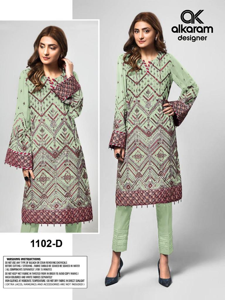 Alkaram Vol 20 Present Georgette with Heavy Embroidery work With Mirror Salwar Suit At Wholesale Rate