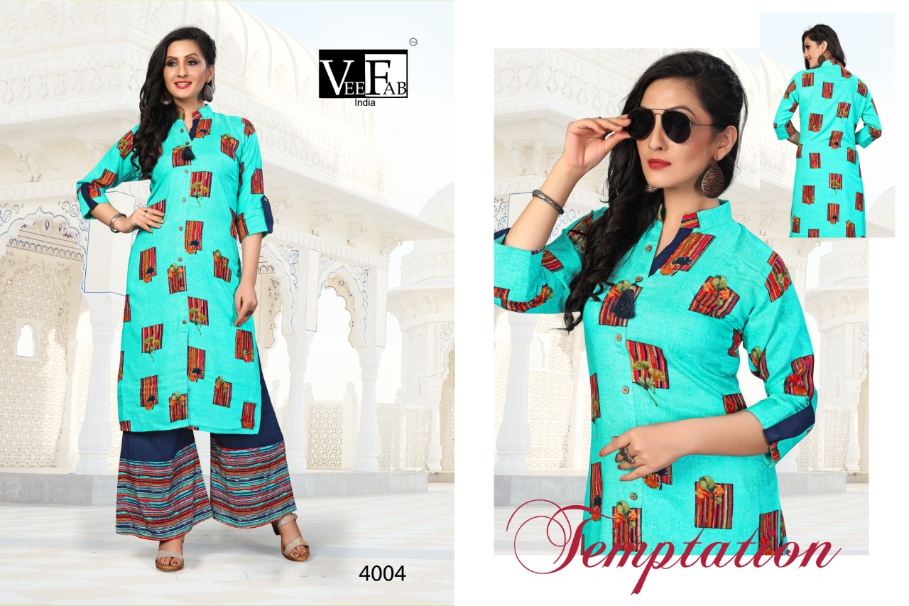 Vee Fab India Jelly Belly Present 14 Kg Rayon Printed Kurti With Plazzo Pair At Wholesale Rate
