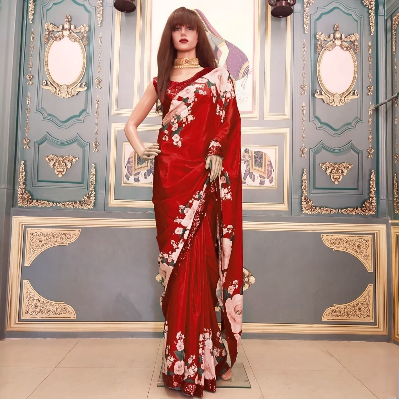 Ridhima Hamnava Presents Partywear Printed Crepe Silk Saree At Wholesale Rate
