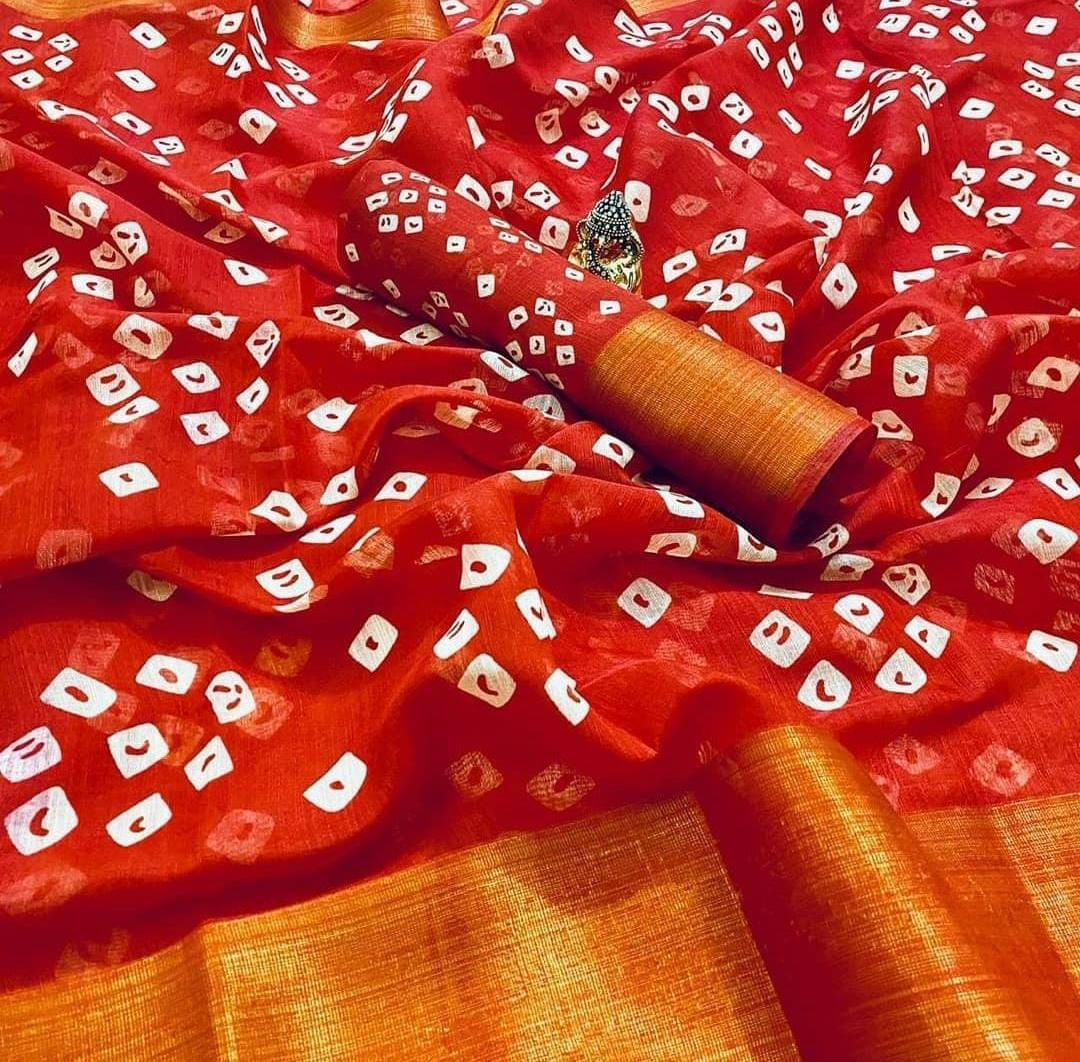AT 2009 Presents Partywear Mill Print Soft Linen Saree At Wholesale Rate