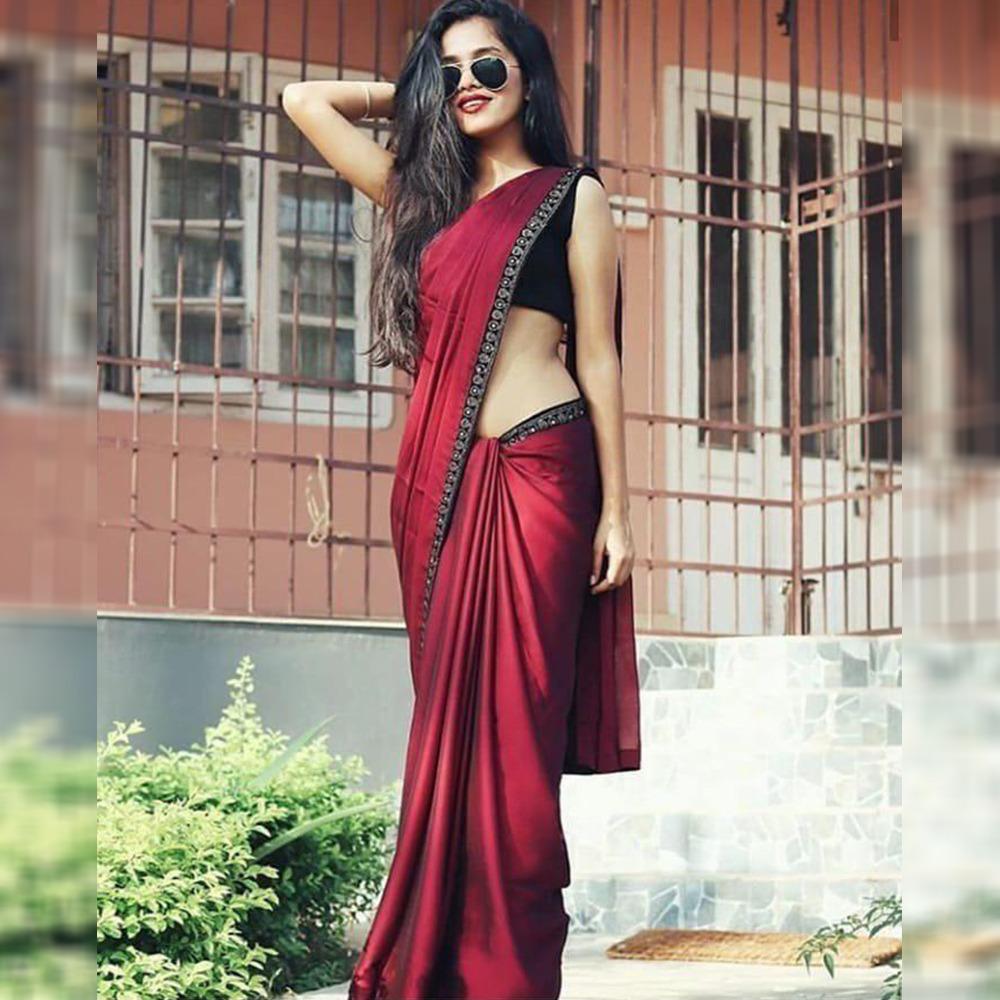 AG-7010 Presents New Designer Maroon Satin Saree At Wholesale Rate