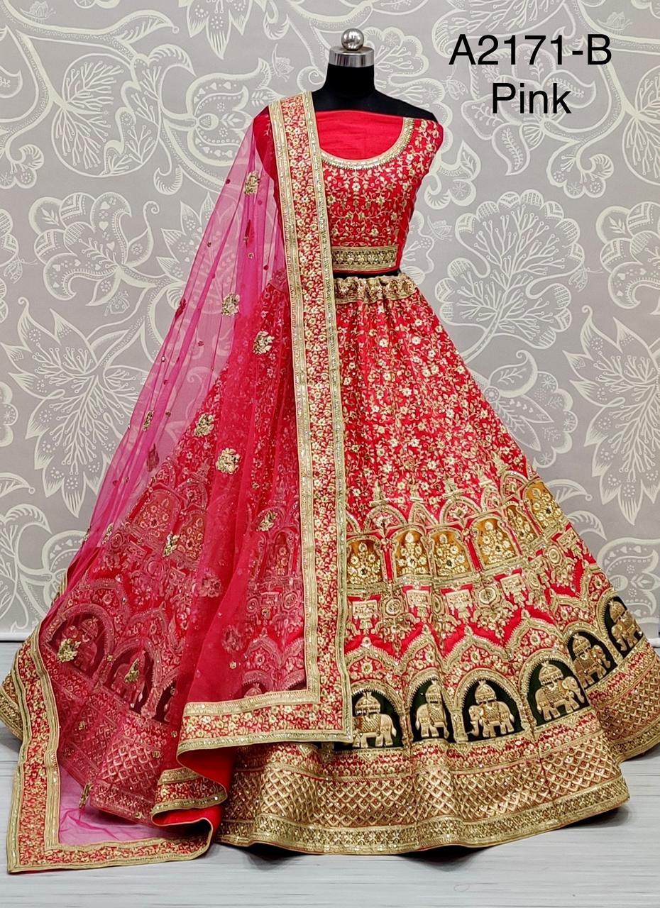 New Designer Work On Slub Silk Perfect Bridal Lehenga Choli At Wholesale Rate