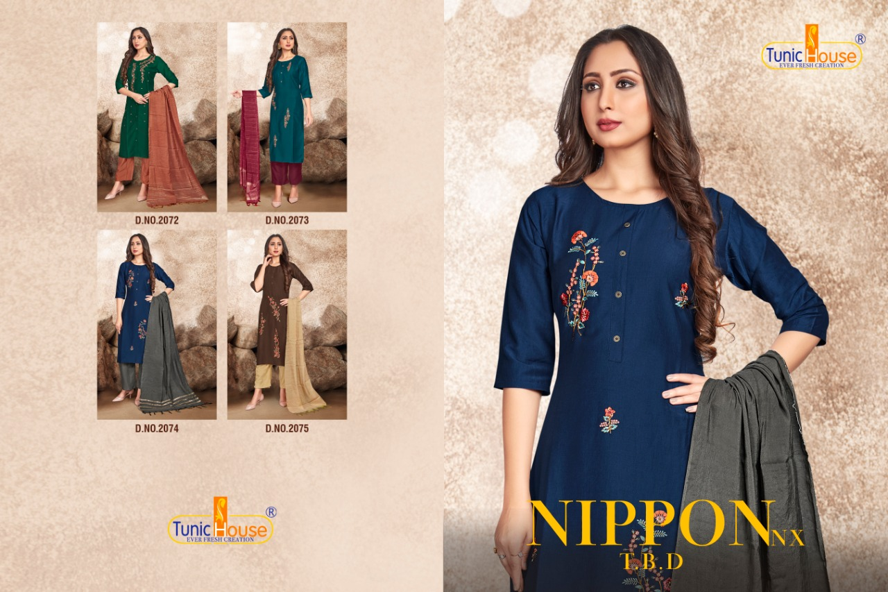 Fancy Designer Chinon Silk With Embroidery Kurti Pant With Fancy Dupatta At Wholesale Rate