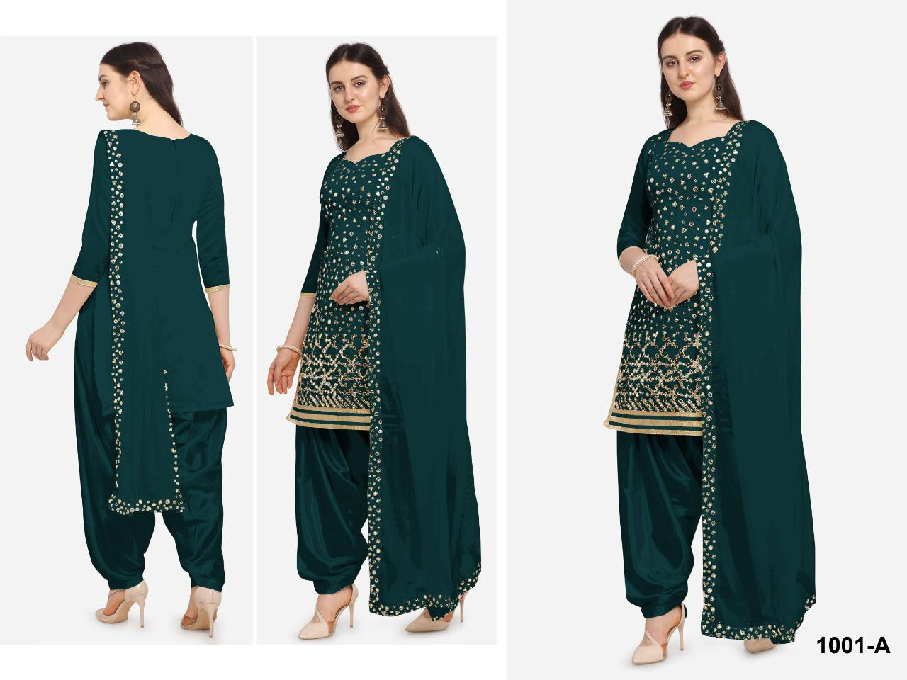 Exclusive Designer Heavy Georgette With Embroidery Work With Mirror Foil Patiyala Suit At Wholesale Rate