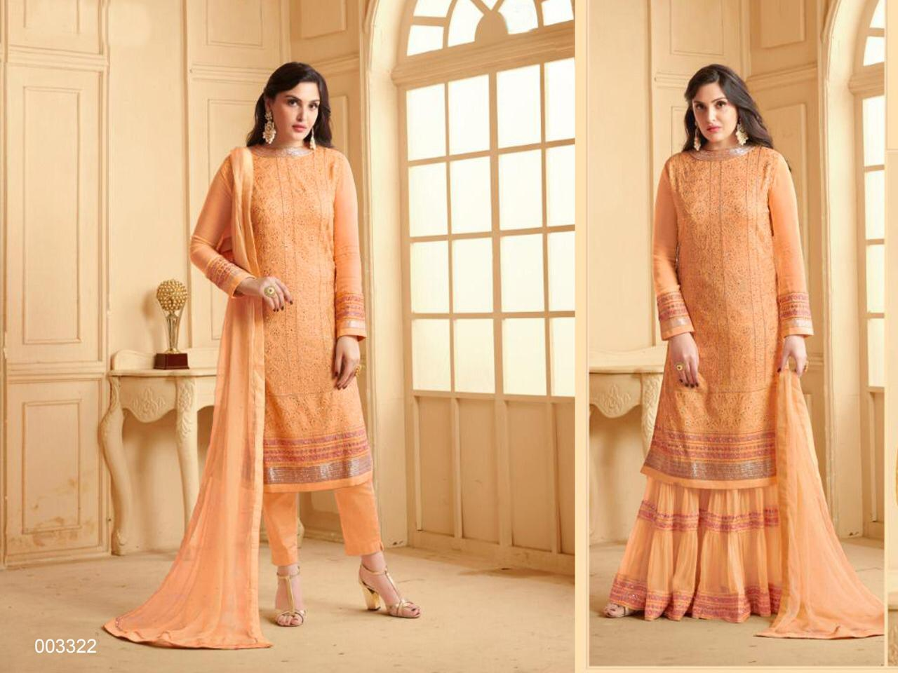 Stylish Designer Embroidery Georgette Sharara Salwar Suit At Wholesale Rate