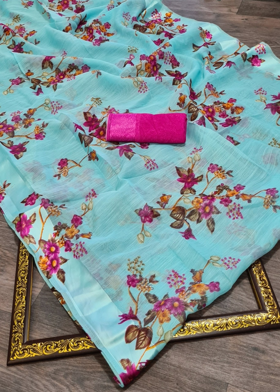 Soft Linen With Satin Border And Mill Print Floral Designer Saree At Wholesale Rate