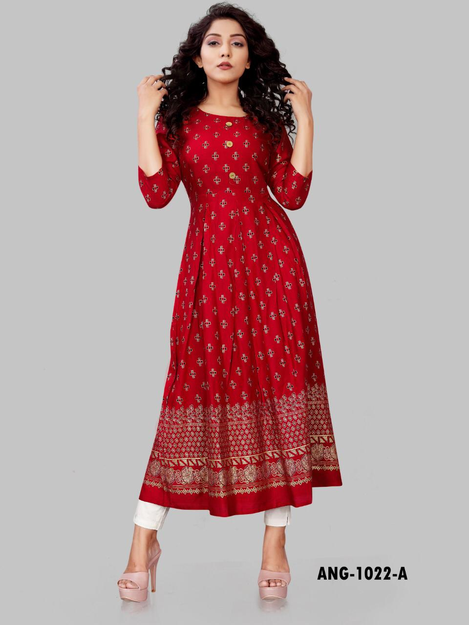 Awesome Partywear Mill Gold Printed Gown Types Kurtis At Wholesale Rate