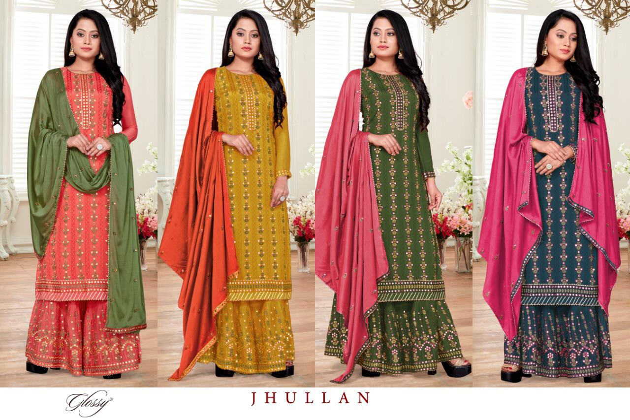 Exclusive Designer Heavy Chinon Chiffon With Mirror Embroidery Work Salwar Suit At Wholesale Rate