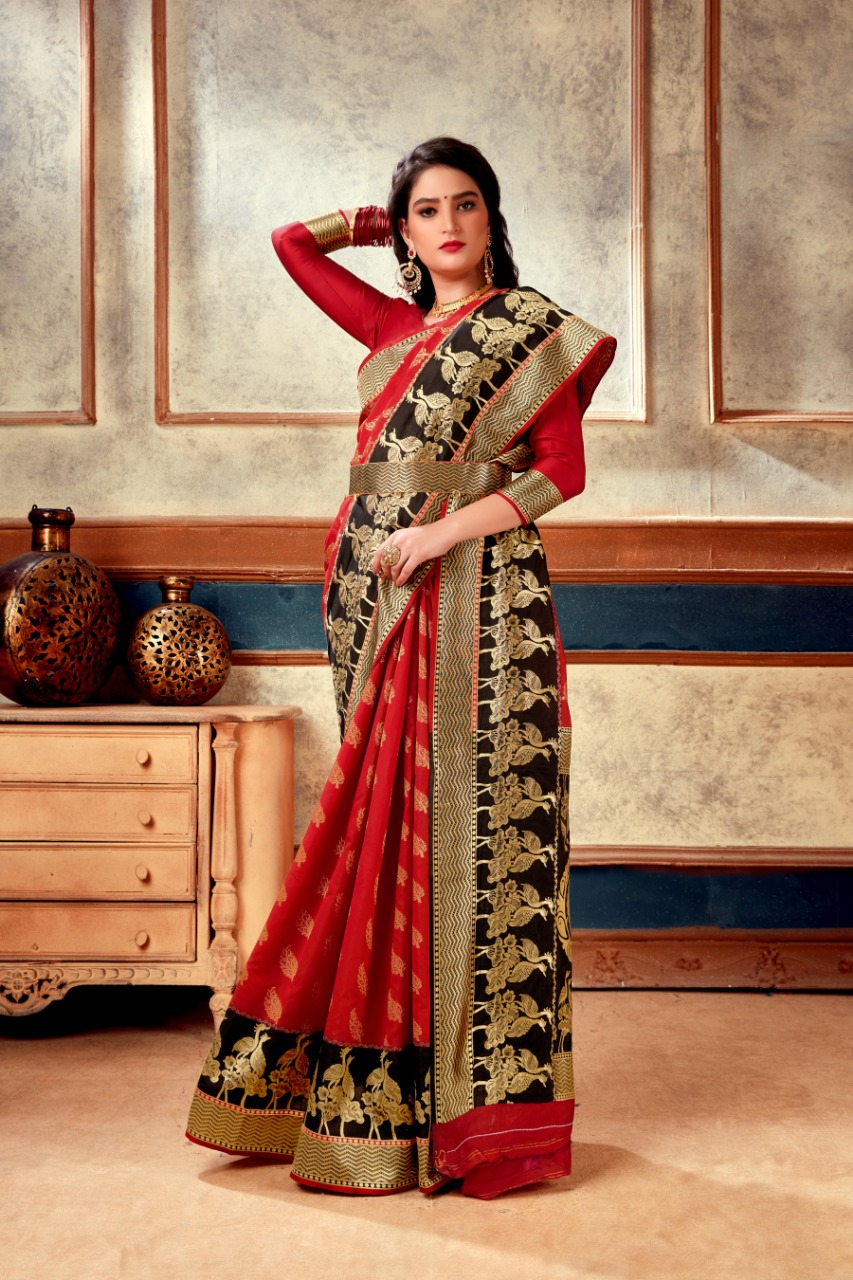 Banarasi Weaving Soft Silk  With BELT With Rich Heavy Border Saree At Wholesale Rate