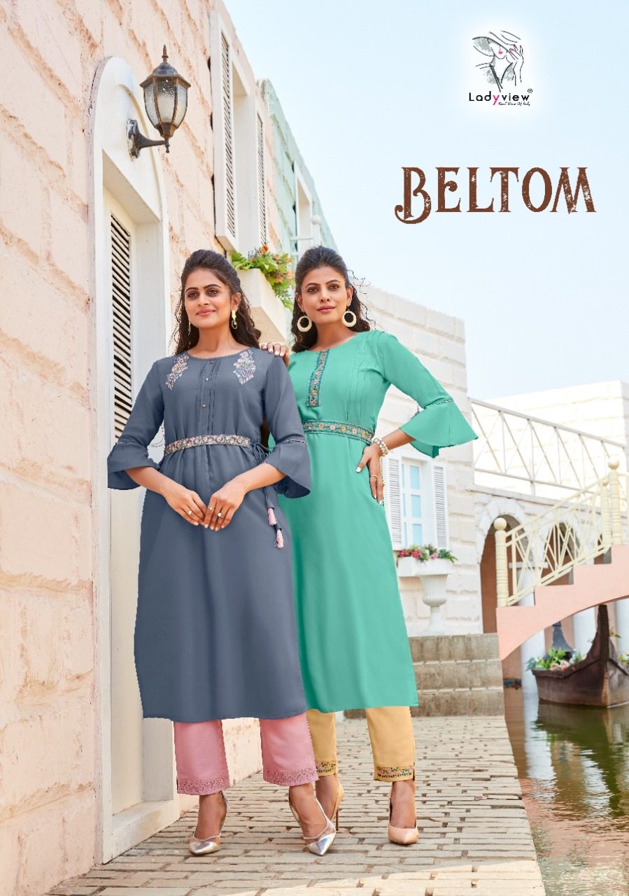 Ladyview Beltom Heavy Embroidery Rayon Kurti With Belt and Pant Catalogue at wholesale rate